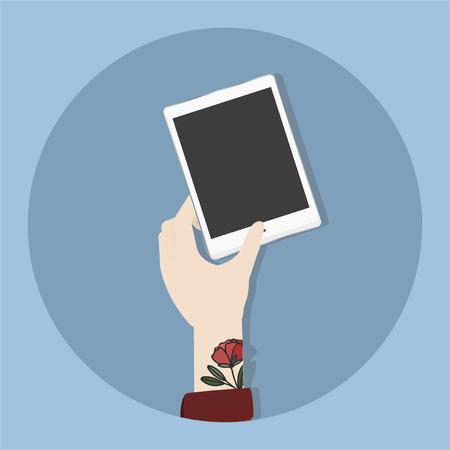 Illustration of hand holding phone Stockfoto