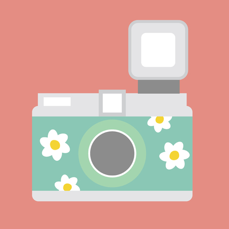 Camera with flowers Stock Photo