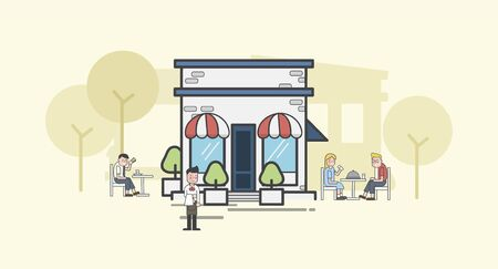 Illustration of restaurant Banco de Imagens