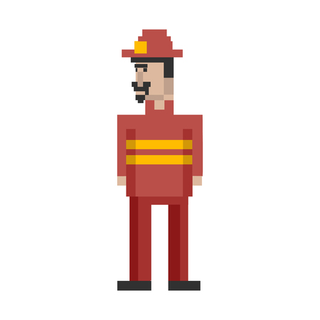 Pixelated firefighter character