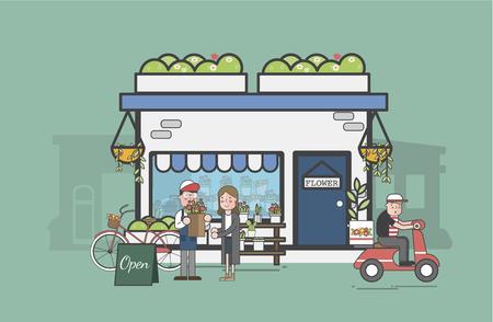 Illustration of flower shop Banco de Imagens - 95596747