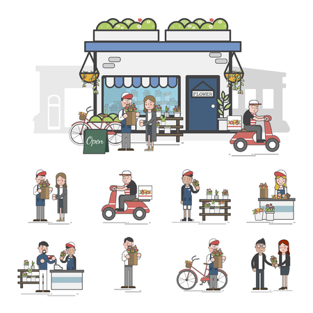 Illustration of flower shop  Imagens