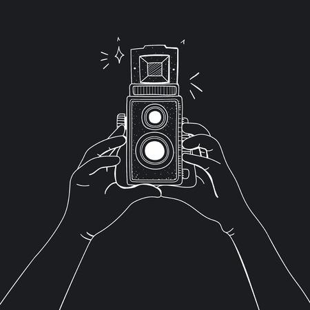 アナログフィルムカメラのイラスト 写真素材
