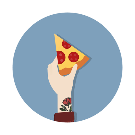 Hand holding a pizza slice Stock Photo