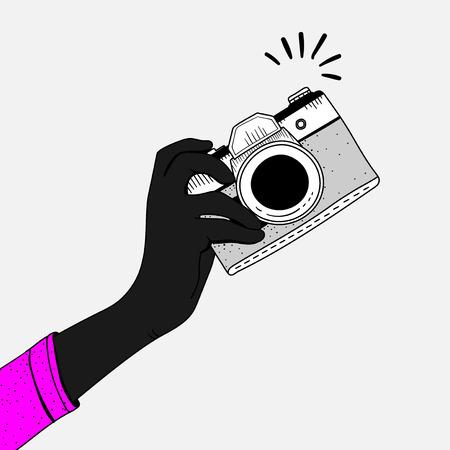 Illustration der Weinlesekamera Standard-Bild - 95596102