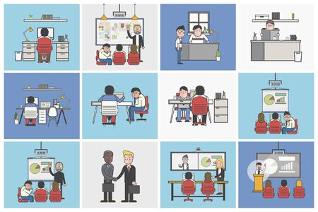 Collection of illustrated office workers in various daily situations