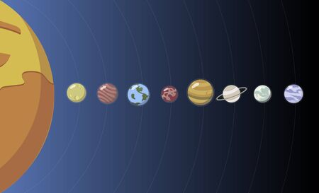 Illustration of solar system 写真素材