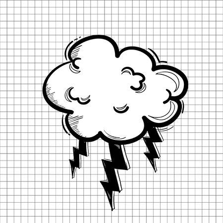 Illustration of thunder cloud icon Stock Photo
