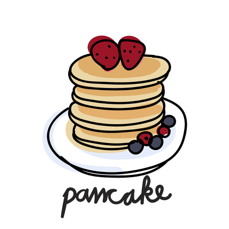 Illustration drawing style of pancake Banco de Imagens - 95595803