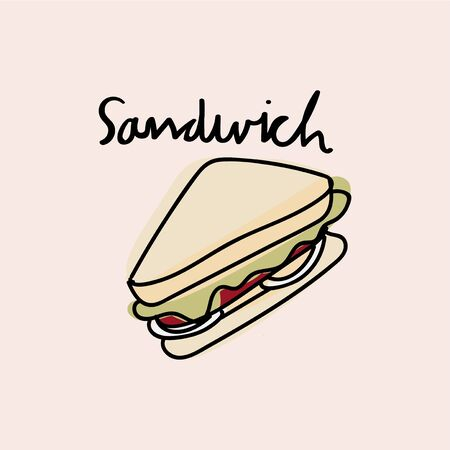 Illustration drawing style of sandwich Banco de Imagens