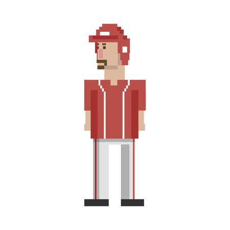 Pixelated baseball player concept Stock Photo