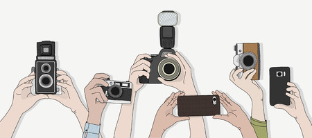 Illustration of people snap photo Stok Fotoğraf