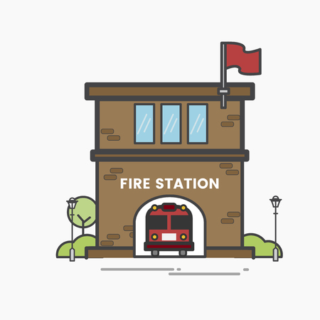 Illustration of fire station Banco de Imagens