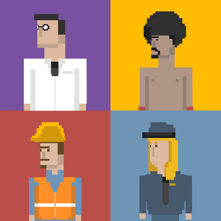 Collection of pixelated characters Zdjęcie Seryjne