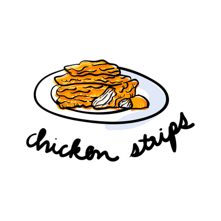 Illustration drawing style of chicken strips Banco de Imagens