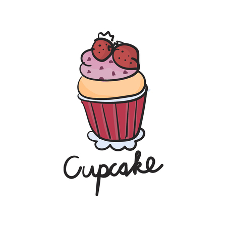 Illustration drawing style of cake