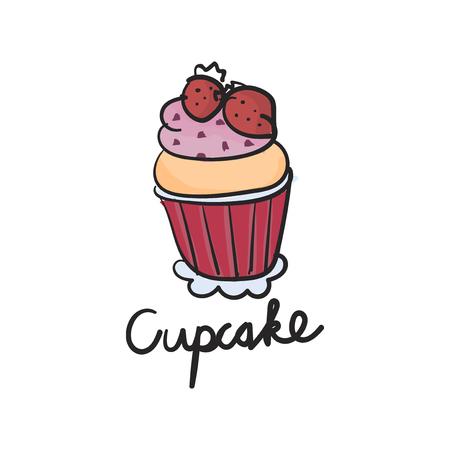 Illustration drawing style of cake