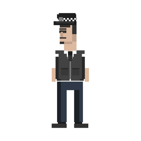 Pixelated police character