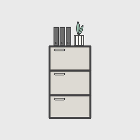 Illustration of office cabinet icon Stok Fotoğraf