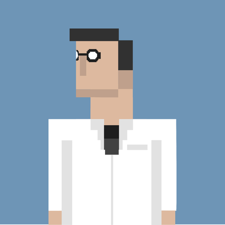 Pixelated scientist character