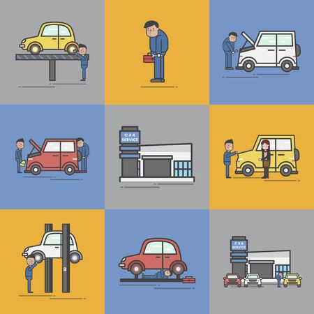 Illustration of car garage Stok Fotoğraf - 95972094