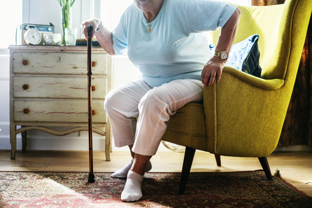 Senior woman sitting on the chair