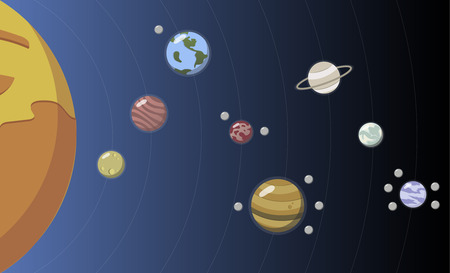 Illustration of solar system 스톡 콘텐츠