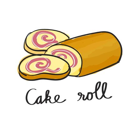 Illustration of cake roll dessert
