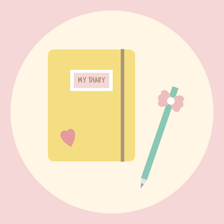 Illustration of diary and pencil Stock Photo