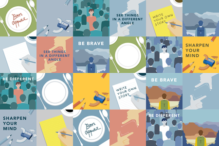 Set of illustrations exploring the concept of human values