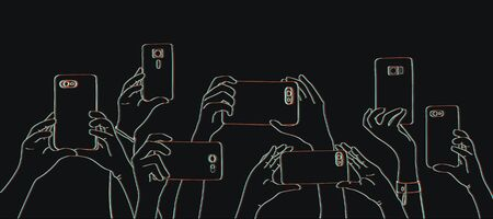 スマートフォンで写真を撮る手のイラスト