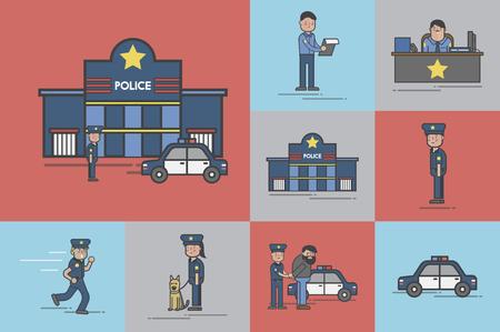 Illustration set of police station