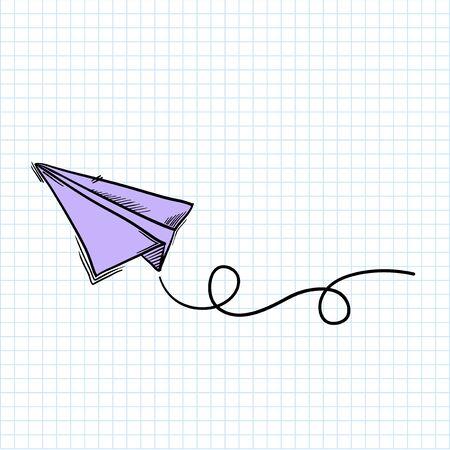 Illustration of paperplane isolated on background