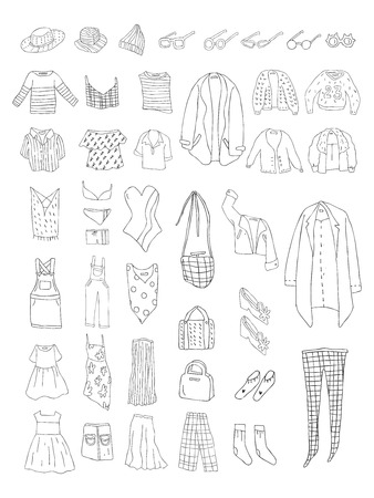 Illustration of different types of clothes Stok Fotoğraf