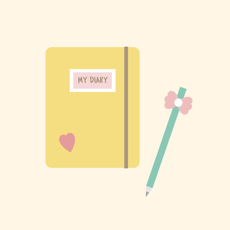 Illustration of a diary and a pen Stock fotó