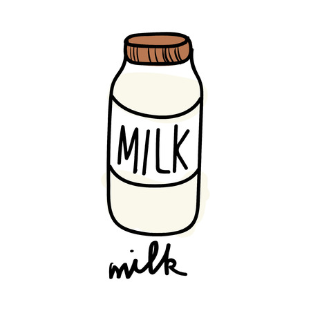 Illustration of milk bottle  Banco de Imagens