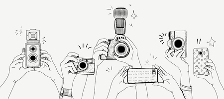 Illustration of people snap photo 写真素材 - 95980147
