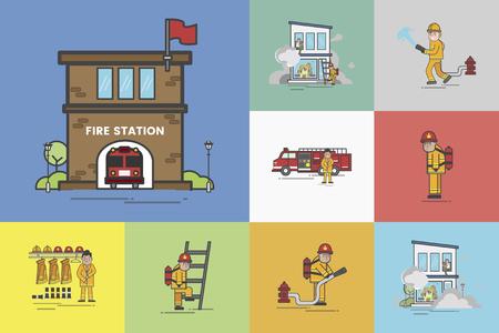 Illustration of fire fighter set