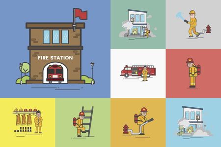 Illustration of fire fighter set