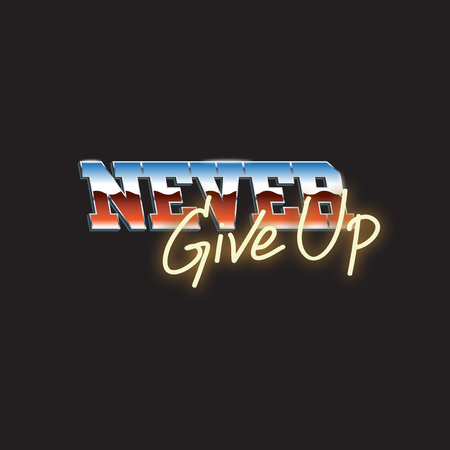 Never Give Up Typography Word Design Concept Banco de Imagens