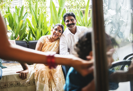 A happy Indian family Stock Photo