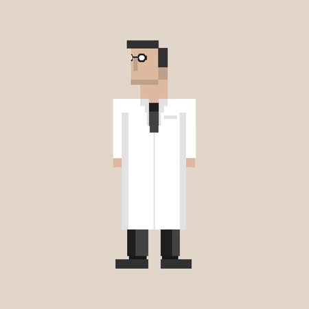Pixelated doctor character Фото со стока