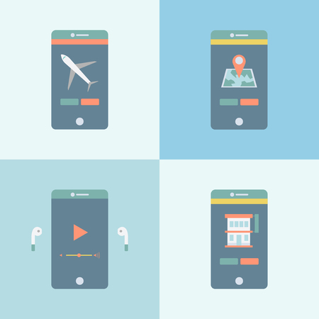 Mobile phone apps concept 스톡 콘텐츠