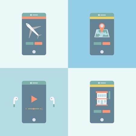 Mobile phone apps concept Banco de Imagens