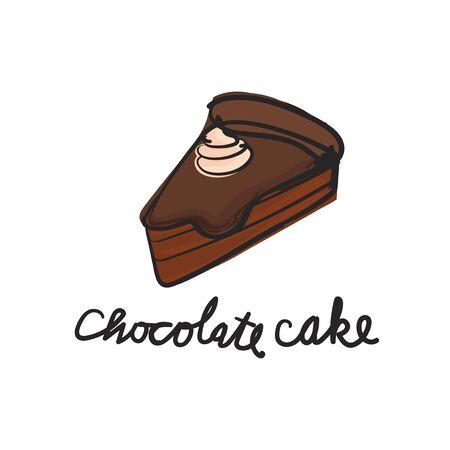 Illustration of dessert chocolate cake Stok Fotoğraf - 95975070