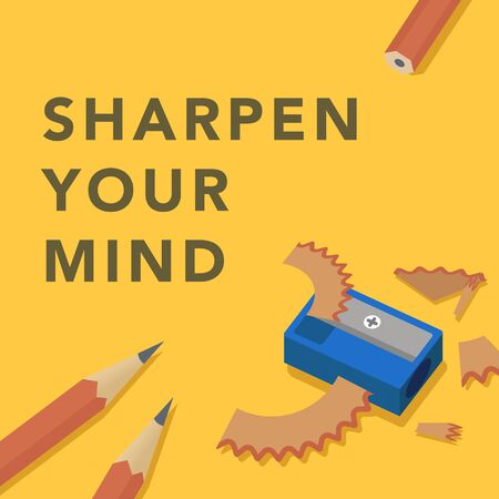 Sharpen your mind conceptual illustration 版權商用圖片