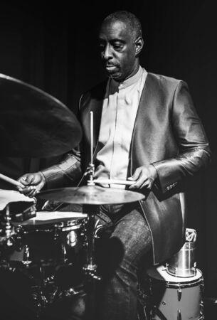 Drummer performing in an event Foto de archivo