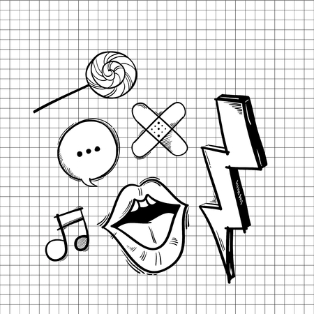 Illustration of hipster icons