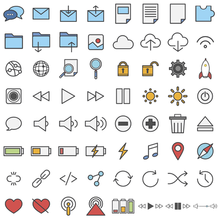 Collection of technology icons Imagens - 115926794