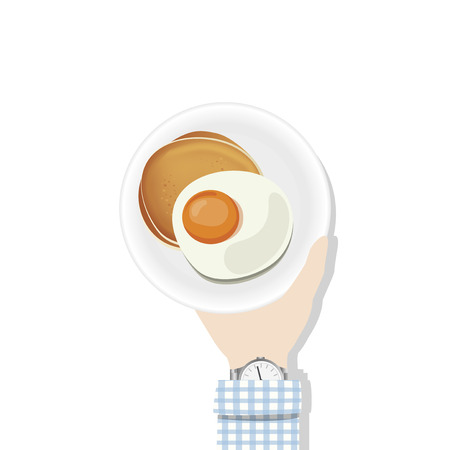 Hand holding a plate of egg and pancake concept